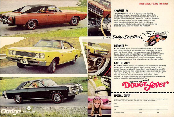 "1968 Dodge Scat Pack Advertisement – ""Run with the Dodge Scat Pack"""