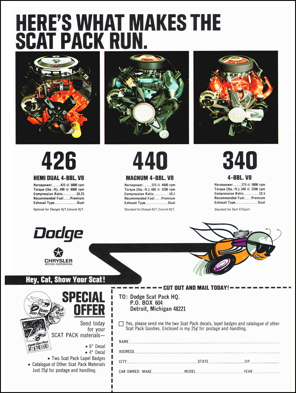 "1968 Dodge Scat Pack Advertisement – ""Here's what makes the Scat Pack run"""