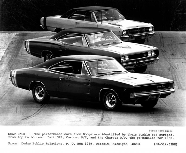 1968 Dodge Scat Pack Press Release Document